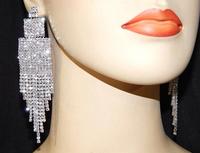 2015 Luxury New No Piercing Clip Earing Wedding Bridal Rhinestone Crystal Long Evening Silver Gold Tassel Drop Earrings DE101