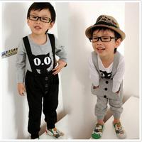 2015 Boys Girls Bib Sets Cotton Long Sleeves Casual Lleisure Suit Clothing T-shirt +Bib Suit Children Kid Clothes Hot Sale AB655