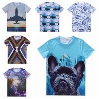 [Magic] 21 Hot models 3d t shirt both side print Animal/Geometric/Eyes/Food/Sky men's short sleeve casual t-shirt free shipping