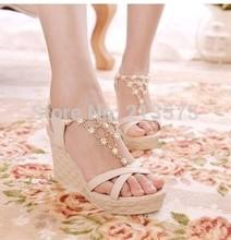 2015 women wedges female platform sandals high heels rhinestone cross belt female open toe princess shoes(China (Mainland))
