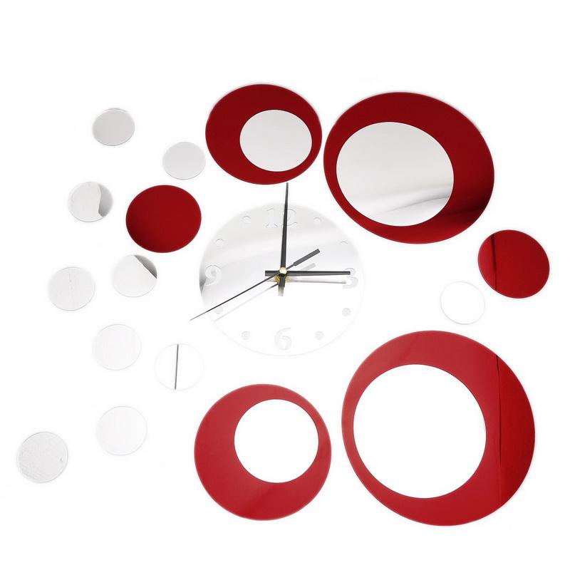 Home Room Decor 1PC Multi DIY Circles Mirror Surface Clock Mural Wall Sticker Free Shipping(China (Mainland))