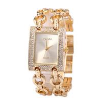 Hot Sell 2015 Leisure Fashionable Woman Luxury Brand Simulation Sports Watch High Quality Rhinestone Bracelet Quartz Watch