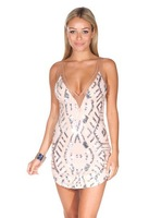 Free shipping sequined mesh geometry stitching V-neck bodycon dress,deep v neck slim mini party dress