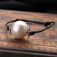 New 2015 Korean jewelry leather rope bracelet adjustable bracelet pearl bracelet vintage jewelry