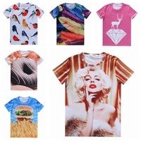 [Magic] 2015 women's new 21 hot models 3d tshirt Marilyn Monroe/Donuts/Fruit/Birds print tshirts casual t shirt size S-XXL