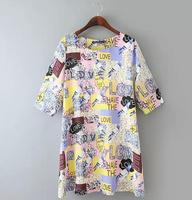 Women Summer Dress 2015 Vestidos Cute Pigeon Letters Print Half Sleeve Dress Retro Casual Party Dresses Plus Size XL XXL XXXL