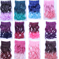 Free Shipping 60cm Black Purple Blue Pink Green Clip In Synthetic Ombre Curly Hair Extension