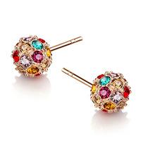 Discovering beauty earrings Austrian crystal ball earrings hypoallergenic earrings Korean female Earrings with stones