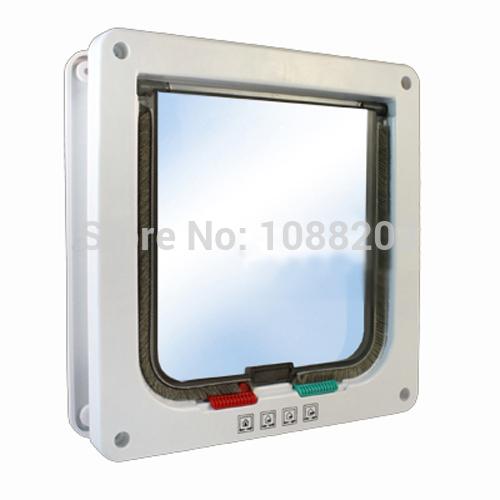 New White Frame 4 Way Locking Lockable Magnetic Pet Cat Small Dog Flap Door(China (Mainland))