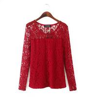 NEW 2015 Sexy Casual Women Shirt Elegant Long Sleeve Lace Shirt  Good Quality Summer Tops Women Clothing