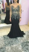 2015 Amazing Elegant Mermaid Evening Gowns Backless Custom Made Black Dresses Evening
