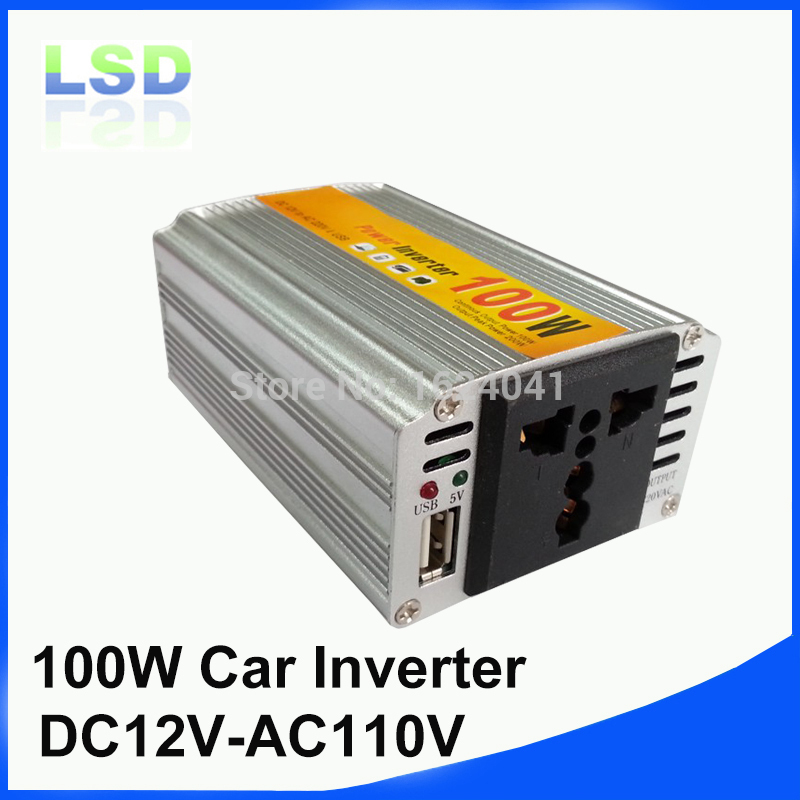 5pcs/lot DC AC car power inverter 100w 12v 110v auto charger adapter with usb(China (Mainland))