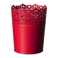 1 piece red color galvanized steel indoor and outdoor use garden plant pot flowerpot