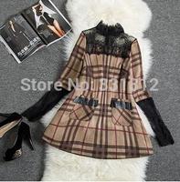 New Fashion Dress Women Warm Cotton Slim Bodycon Long-sleeved Plaid Print Casual Dresses Black Women Winter Dress