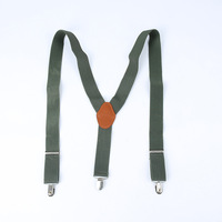 2015 new fashion 3Clip-on Adjustable Straps Elastic Brace Suspender with Gift box leisure Genuine leather suspenders