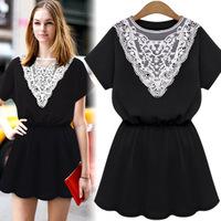 20145 women's new summer  lace collar hollow waist short-sleeved dress 8701