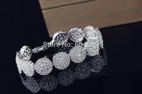 New style Luxurious full cz zircon round bracelet & bangle link zirconia bridal wedding jewelry for women