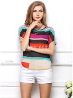 blusas femininas 2015 women blouse Multi-colour Striped Chiffon blouse roupas femininas camisas femininas women tops casual