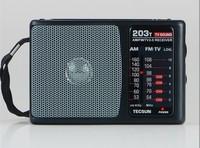 High Quality Brand New High Sensitivity TECSUN R-203T R203T AM/FM/TV sound Pocket Radio R203T Radio Receiver Built-In Speaker