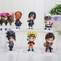 6pcs/set 3inch Anime Naruto Q version Sasuke Uchiha Itachi Luo Figures PVC Toys Doll Model Collection