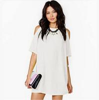 vestidos femininos plus size women clothing 2015 spring summer acetate dress loose waist roupas femininas white and black dress