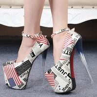 size eur 34-45 fashion ladies platform shoes woman girls sexy high heels women shoes female 19 cm ankle strap pumps GD150099