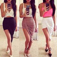 2015 Free shipping NEW ARRIVALS Irregular fashion low waist skirt 12 COLORS for women skirts Slim pencil skirt