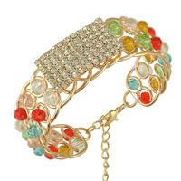 18K Gold Plated Multicolor Crystal Bracelet Bangles for 2015