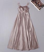 High quality 2015 runway fashion Brand sexy V neck sleeveless Elegant spaghetti strap formal maxi long one piece dress S,M,L