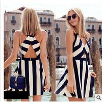Black And White Fashion Sexy Deep V-neck Dress 2015 New Arrivals Vintage Patchwork Women's Dresses Summer Vestidos Femininos