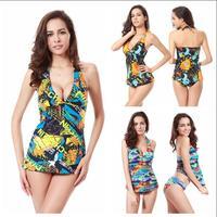 Women Sexy Swimwears Tankinis Set Print Style 2015 New Arrival Swimsuit Triangle Swimwear Beachwear Bathing Suit DT001