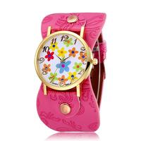 Kids Flower Printing Dial Watches Quartz Movement Rose Gold Alloy Case Pu Strap Ladies Fashion Wristwatches