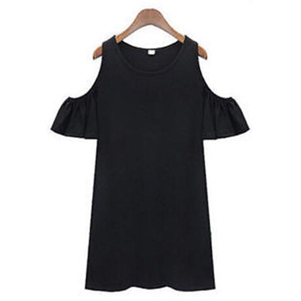 Venda quente meninas mulheres fora do ombro longo T-shirt Tops camisa blusa de babados Mini vestido grátis frete(China (Mainland))