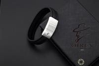 Hot sale wholesale brand stainless steel black genuine leather men bangles cuff bracelets banges