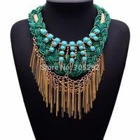 2015 New Costume Trendy Tassel Fashion Statement Necklace