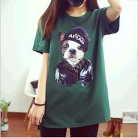 New 2015 Women Summer Tops Oversized T Shirt Dress French Bulldog Animal Print Cute Shirt 0107D Pug
