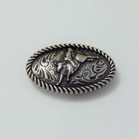 """10pc 1-1/2"""" Bull Rider Rope Edged Concho Leathercraft Saddlery Antique-Silver"""