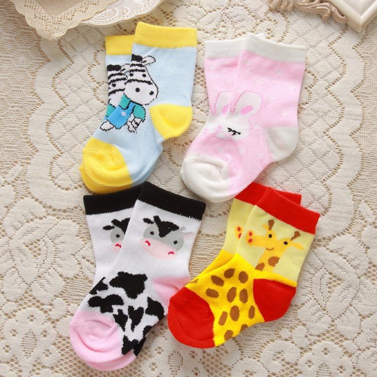 Children of 1-3 years old export cotton socks cute cartoon cow giraffe jacquard socks(China (Mainland))