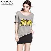 SMSS 2015 New European and American Sexy T shirt Women Tops Tshirt O-neck Short-sleeve T-shirt Printing Cropped Batman Crop Top