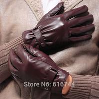 New Fashion Men's One-Button Winter Warm Gloves Genuine Lambskin Leather Fleece Lined Black Brown M L
