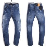 2015 New  men brand jean DSQ jeans Draping blue patch hole low-waist feet D2  jeans