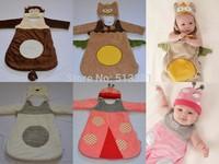 2015 New Winter Thick Cute Newborn Baby Sleeping Bags with Cap Anti Tipi Cotton Infant Sleepsacks Boy's Girl's Fleebag 60-83CM