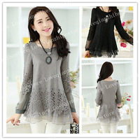 New Arrival Korean Fashion Style Lace Design Plus Size Stylish Solid Color Women Shirt O Neck Middle Long Slim Long Sleeve Top