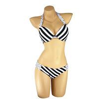 Women Fashion Stripe and Dot Print Push Up Ladies Bikini Bathing Suit  New Arrival Woman Halter Swimwear