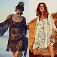 2014 New Sexy Lace Dress Floral Casual White Crochet Strap Off Shoulder Summer Beach Dresses, Vestidos Femininos Beach Wear