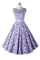 Audrey Hepburn 50s Vintage Women Blue and White Porcelain Flower Print Swing Dress Retro Prom Rockabilly Vestidos Femininos