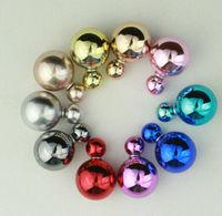 Hot Sale Double Pearl Earrings For Women Champagne bubbles Big Pearl Earrings Stud Earrings Women Fashion Jewelry PE004