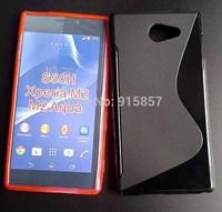 High Quality Black Soft TPU Gel S line Skin Cover Case For Sony Xperia M2 Aqua D2403 D2406 Free Ship FEDEX DHL EMS CPAM SGPAM
