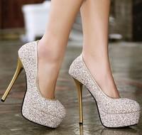 spring autumn fashion glitter ladies wedding shoes woman platform women shoes female 2015 girls pumps sexy high heels GD150102