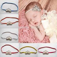 Free Shipping 10Pcs/Lot 2015 fashion Baby hairband boyes girls headband with rhinestone crown infant photograph hair accessories